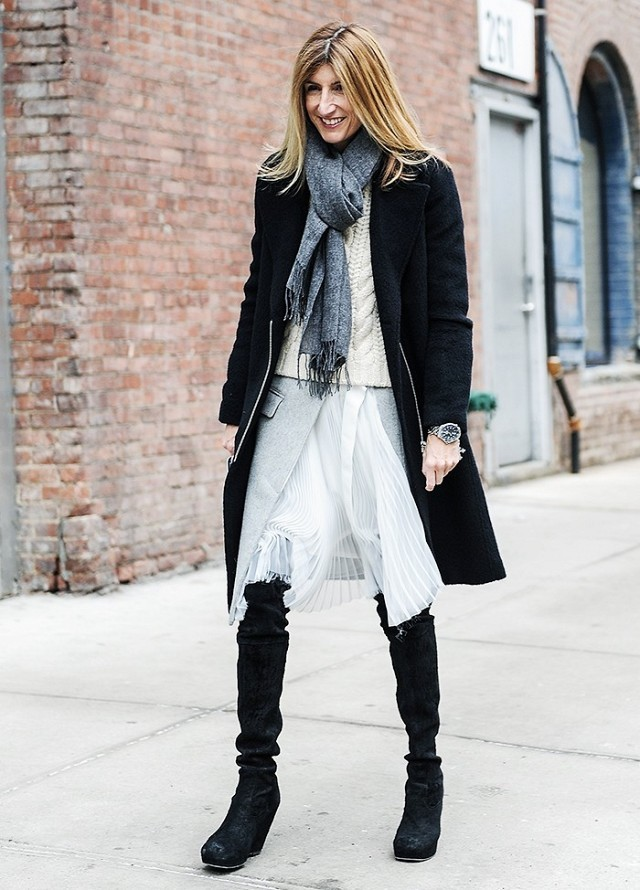 winter outfit-layering-sara ruffo-over the knee boots-white skirt-fisherman sweater-black coat-scarf-via