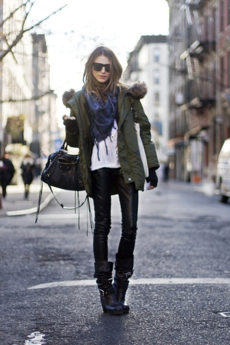 black and white outfit, what to wear with leather pants. black leather skinnies, green army jacket, scarf