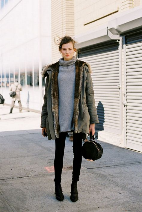 black skinnies, grey turtleneck sweater, oversized sweater, green fur lined parka, black boots, black and grey, weekend outfit