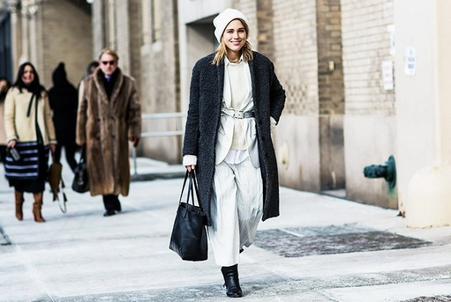 winter whites-beanie-belted jacket-winter layering-cropped culottes-pants booties-grey coat-winter work outfit-via