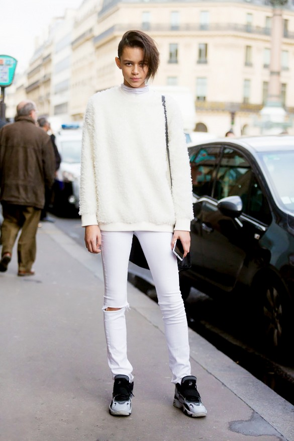 Winter Whites White Jeans Textured Sweater