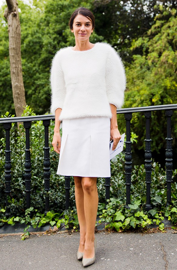 white knee skirt, white skirts in winter, white furry puff shoulder sweater, all white, holiday outfit, winter work outfit, texture