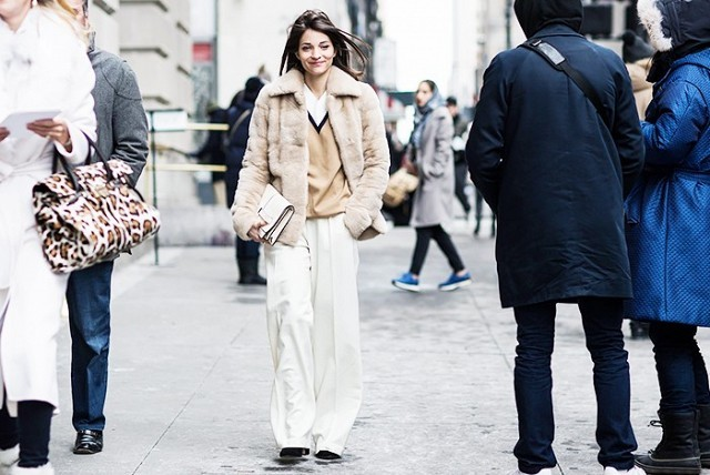 witner work outfit-winter neutrals-fur coat-sweater over shirt-white wide leg pants-maria duenas-