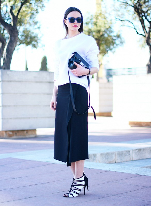 sweaters and skirts, fall winter outfits, black wrap skirt and white sweater, black and white,
