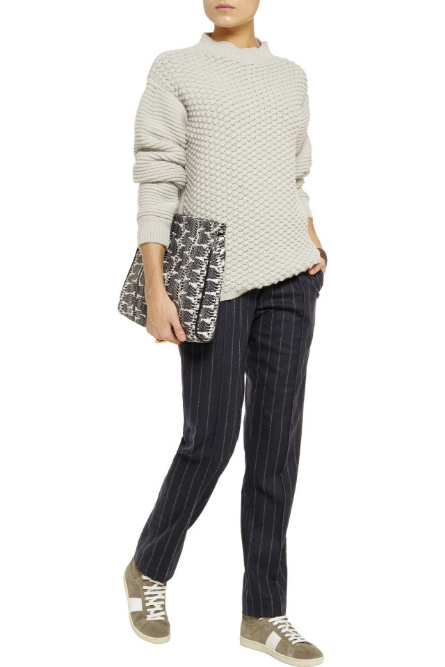pinstripes, sweater, sneakers, gym shoes, clutch