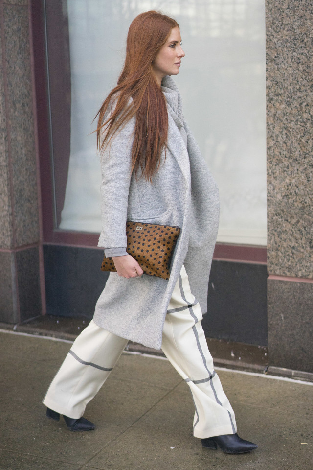 nyfw, windowpane prints, grey coat, animal print clutch, printed pants, transitional dressing, winter to spring, work