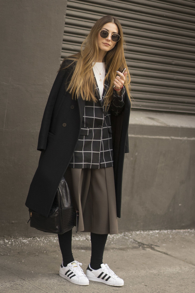 adidas, nyfw, windowpane prints, coat, black and white, skirt