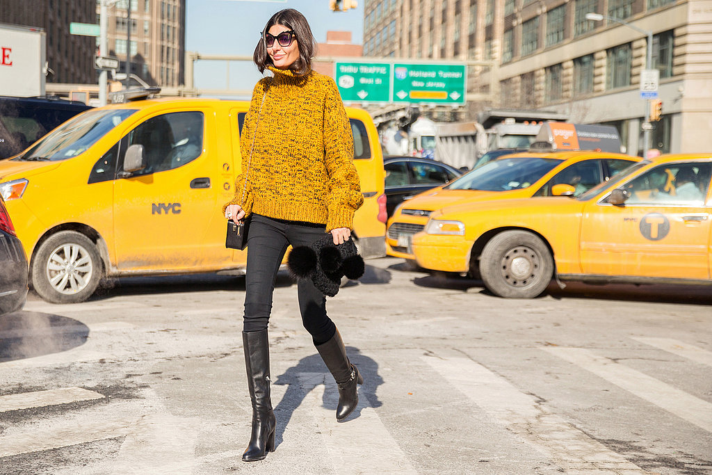 mustard sweater, black skinnies, winter, spring, nyfw, street style