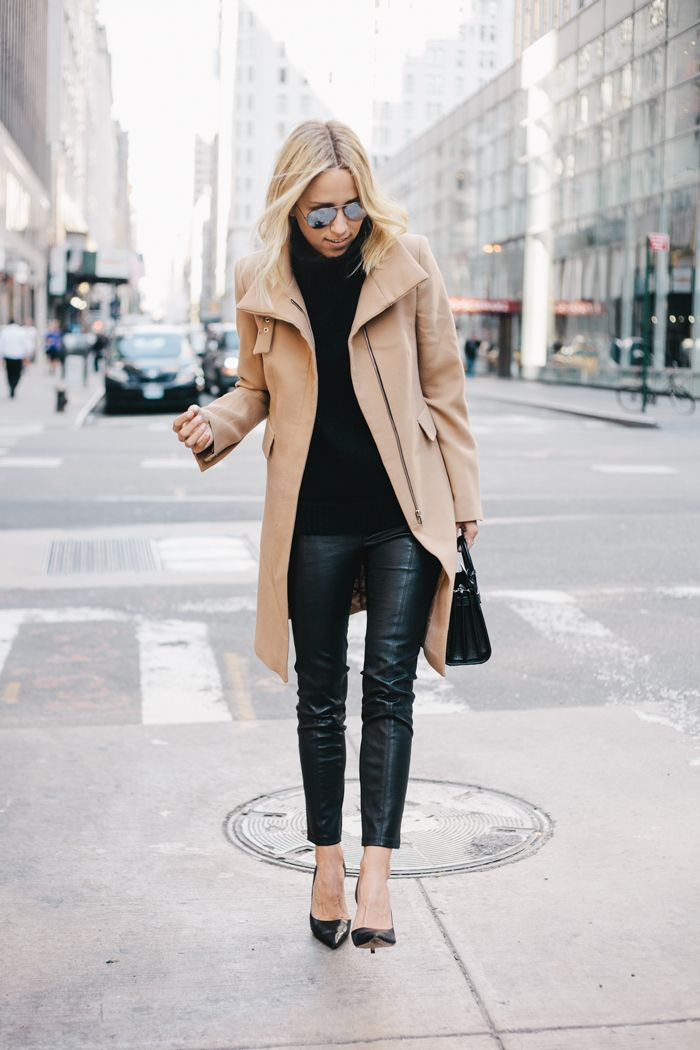 black skinnies, black turtleneck sweater, camel coat, winter outfit
