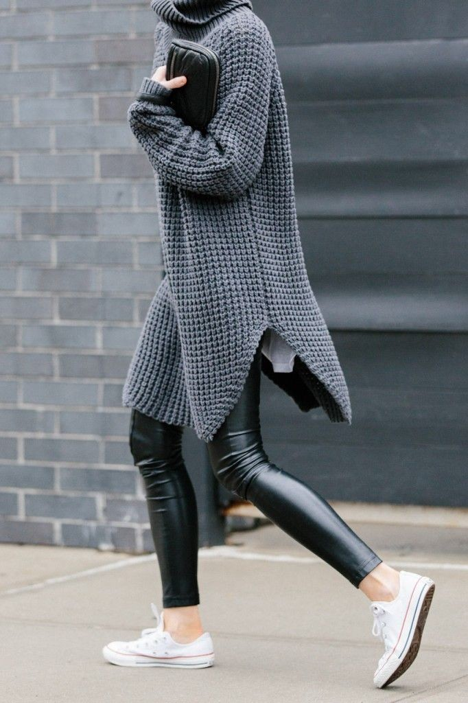 winter outfits, oversized turtleneck sweater, black leather skinnies, fall winter layers, grey and black, weekend outfit