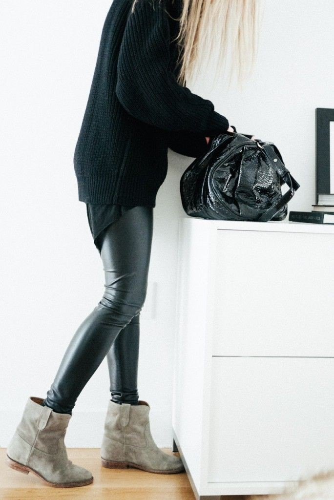 black leather skinnies, black oversized turtleneck sweater, isabel marant tan ankle boots, winter outfit, all black outfit