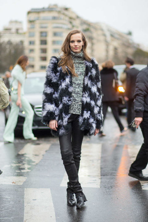 colored-fur-coat-tutleneck-sweater-marled-black-leather-skinnies-lace-up-boots
