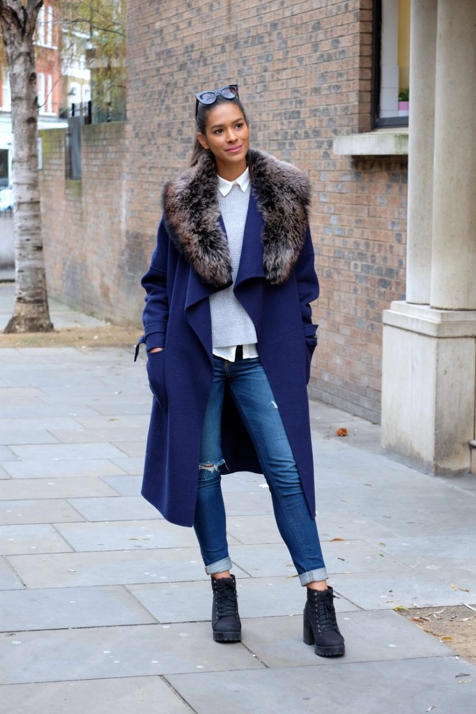 fur-coat-cobalt-sweater-over-shirt-oxford-rolled-jeans-lace-uphow to cuff your jeans, jeans, denim styling tips, -booties-preppy-classic-casual-statement-coat-via