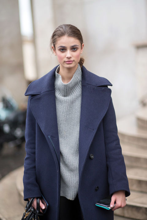 turtleneck sweater, grey sweater, navy coat, model off duty style, fall winter outfits, layering