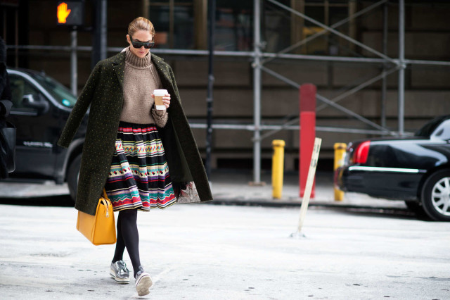 sweaters and skirts, fall winter outfit, jj-martin, sneakers and skirts, turtleneck sweater, jacket on shoulders, printd skirt, spring transition, orange bag, nyfw, winter, layering, coats, cold, fashion week