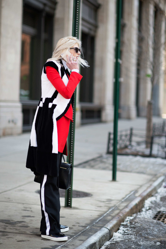 kelly-connor, colorblock coat, red and black, red, black and white, track pants, nyfw, winter, layering, coats, cold, fashion wee