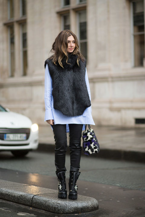 leather-skinnies-fur-vest-oxford-winter-layers-moto-boots-via-harpersbazaar