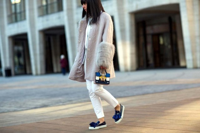white jeans, platform loafers, fur sleeves, fur coat, statement coat, white jeans in winter, winter whites
