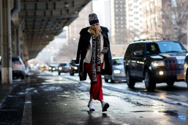 nyfw-double-coats-red-and-black-maxi-skirt-long-midi-winter-accessories-hat-scarf-sneakers-and-skirts-via-thestyleograph