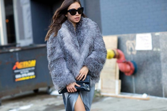 grey fur coat, winter outfit, how to wear a fur coat-nyfw-