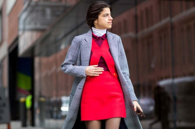 nyfw-glen-plaid-coat-red-jumper-turtleneck-man-repeller-via-thestyleograph