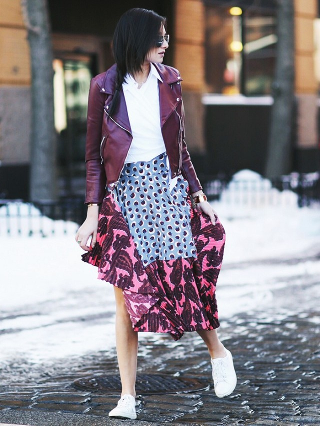 nyfw-red-moto-jacket-marsala-printed-maxi-skirt-asymmetrical-via-weworewhat