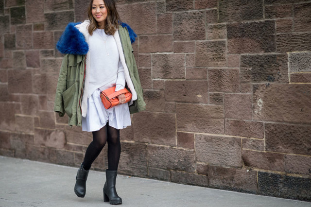 Aimee Sung, Blogger Style, Winter Whites, Oversized Sweater, Army Jacket, NYFW Street Style, Fur Coat, Winter Layers, Winter Outfits, Fashion Week, Coats, Statement Coats