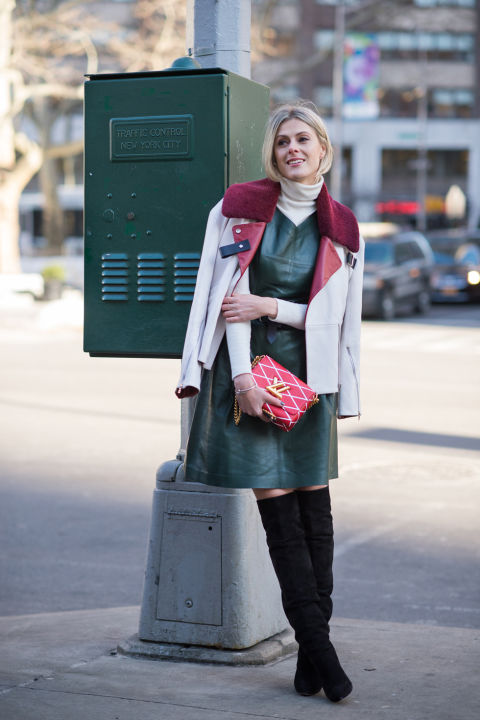 elle, thigh high boots, over the knee boots, turtleneck under dress, romper, emerald leather dress, shearling fur collar, moto jacket, colorblock jacket, burgundy fall colors, over the knee