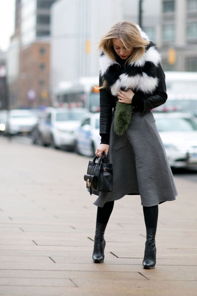 what to wear to work when it's freezing outside, nyfw-winter-layers-freezing-grey-midi-skirt-fur-moto-jacket-ankle-boots-tights