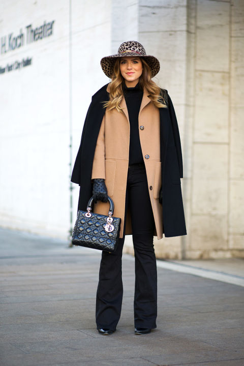 what to wear to work when it's freezing outside, nyfw-winter-layers-freezing-hbz-wide-brim-hat-wide-leg-pants-flares-camel-coat-double-coats-black-coat-coat-on-shoulders-blogger-style-chiara-ferragni