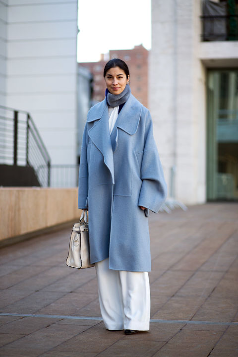 what to wear to work when it's freezing outside, nyfw-winter-layers-freezing-hbz-winter-whites-blue-pastel-coat-carline-issa-editor-blogger-style-spring-work