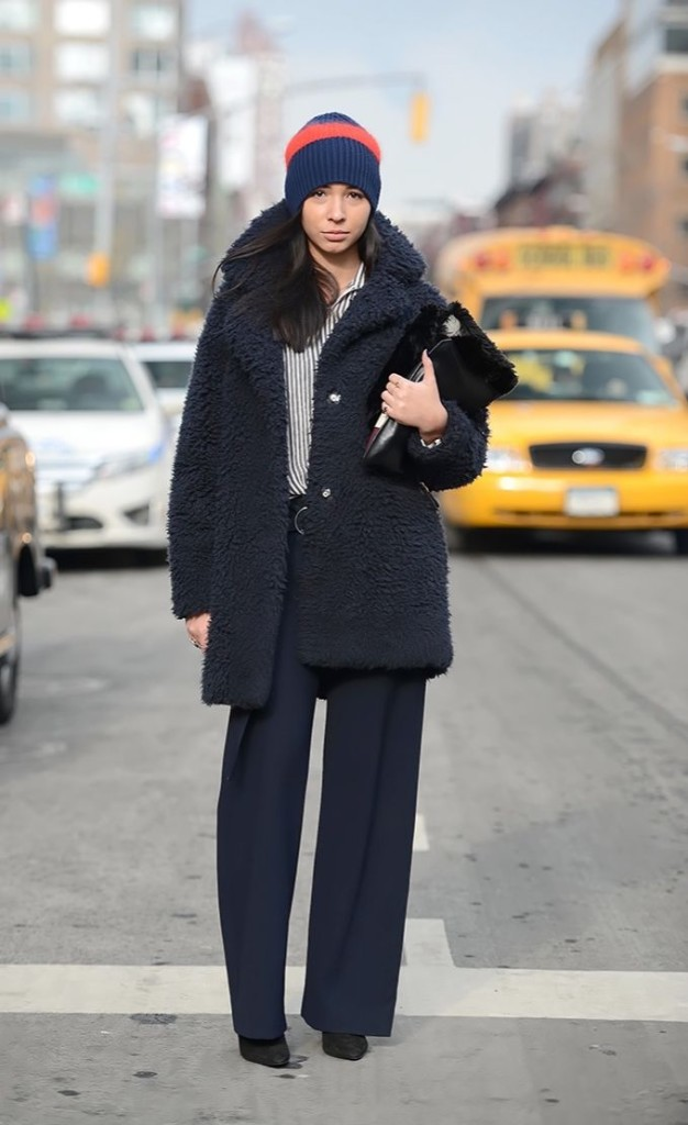 what to wear to work when it's freezing outside, nyfw-winter-layers-freezing-navy-teddy-bear-coat-furry-coat-work-menswear-via-neimanmarcusblog-