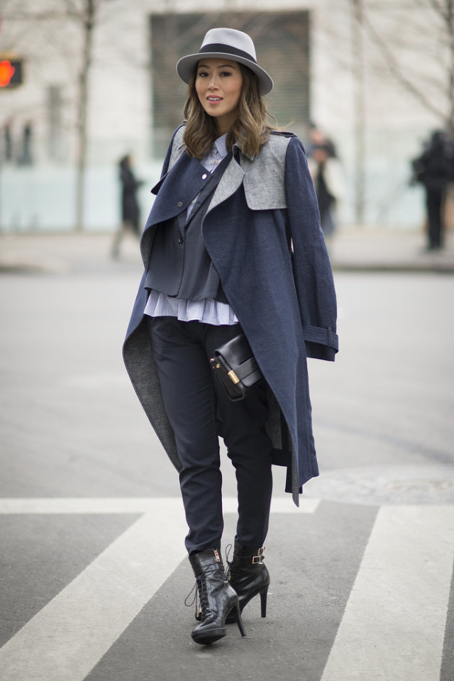 nyfw-winter-layers-freezing-popsugar-aimee-song-navy-grey-coat-on-shoulders-trousers-rufflees-hat-wintre-work