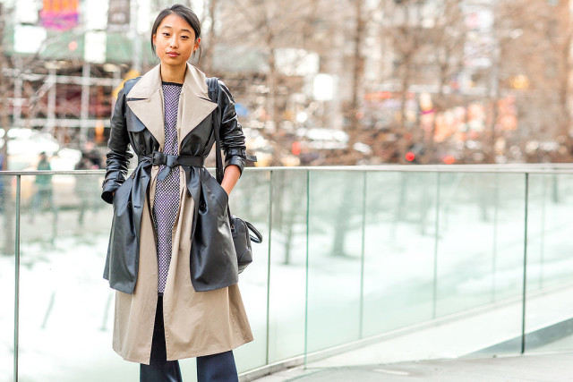 trench coat, layers, belt, wide-leg pants, flare jeans, rain, snow, spring, transitional dressing, fall, winter
