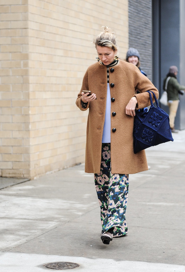 NYFW, furry coat, mixed prints, floral pants