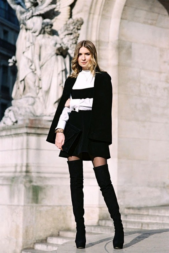 over-the-knee-boots-ruffle-skirt-peplum-skirt-black-mini-skirt-jacket-on-shoulder-black-and-white-