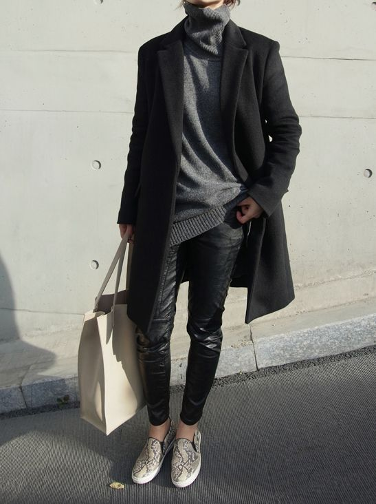 black leather skinnies, slip on sneakers, grey turtleneck sweater, oversized sweater, black coat, black and grey