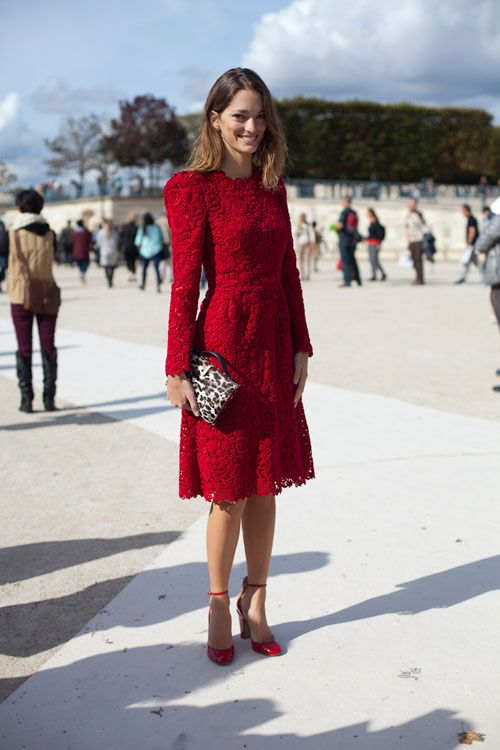 what to wear to holiday parties, red lace dress, model style