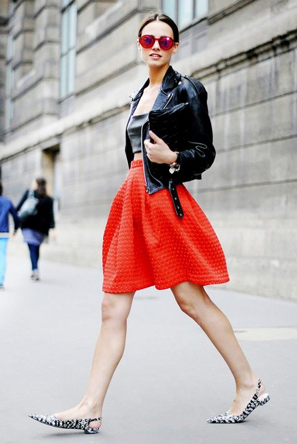 red-skirt-knee-skirt-pointy-toe-flats-slignbacks-black-and-white-printed-flats-black-leather-moto-jacket-crop-to--red-and-bllack-via-whowhatwear