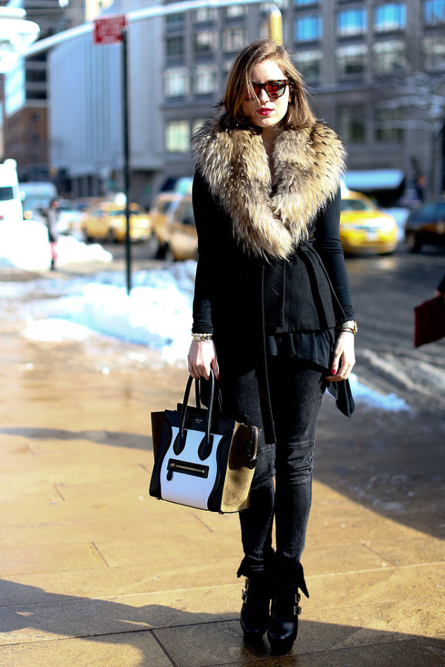 snow outfits, what to wear in a snowstorm, winter outfit, fur trim coat