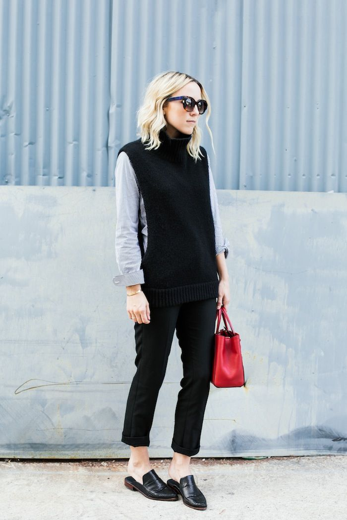 damsel in dior, sweater vest, striped button up shirt, black trouser pants, loafers, black mules slides