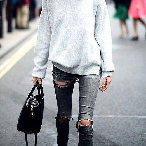 sweatshirt, ripped jeans, weekend, casual