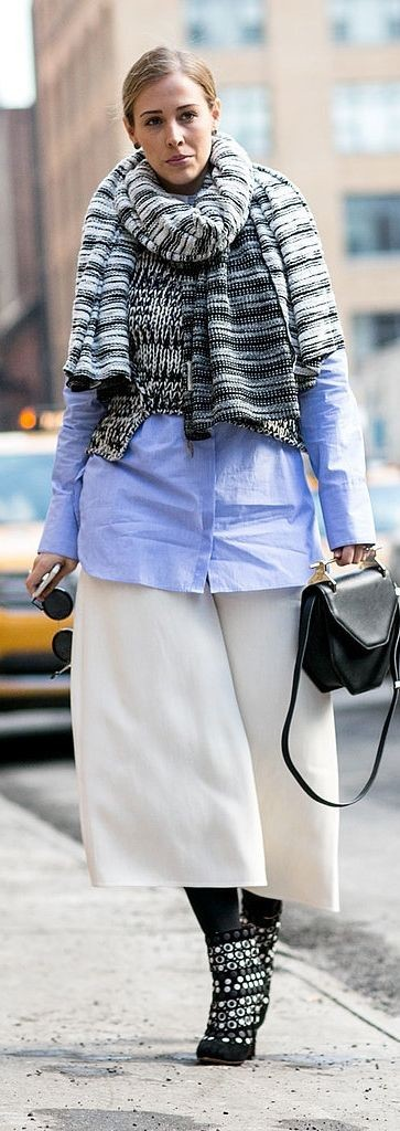 culottes, oversized oxford, pfw, street, style, winter to spring, transitional dressing, neutrals, classic