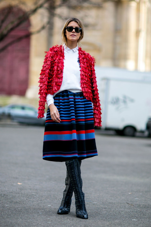 striped skirt, ruffle jacket blazer, spring, winter to spring