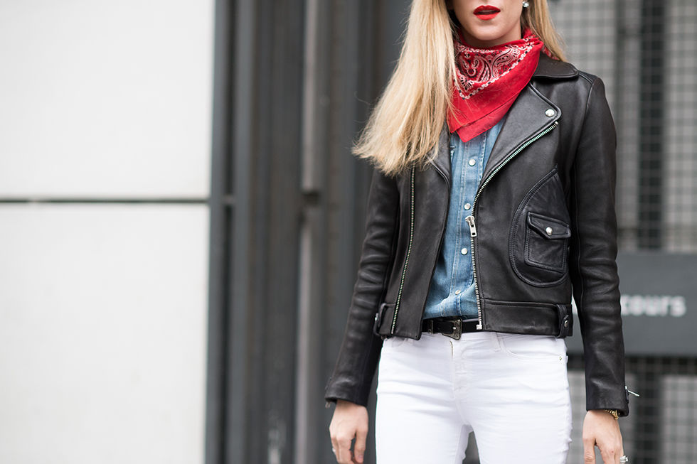 bandana, moto jaket, white jeans, pfw, spring, winter, transitional dressing, editors