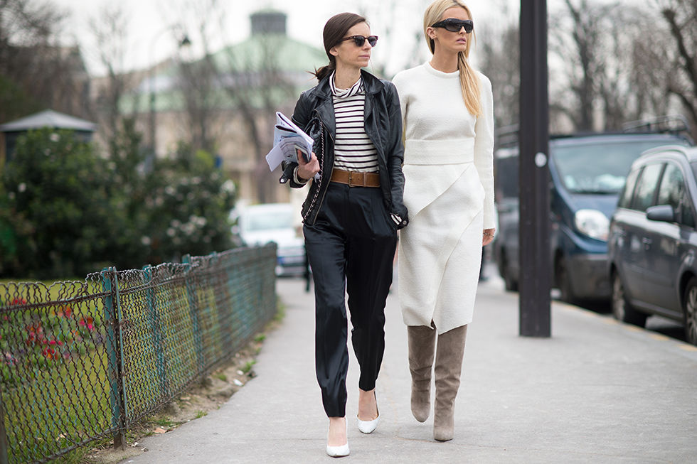 winter whites, suede knee boots, editor style, stripes, white pumps, midi skirt, white oxford, pfw, transitional dressing, spring to winter,