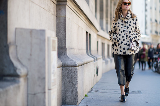 pfw, transitional dressing, spring to winter, culottes, spotted jacket, fur