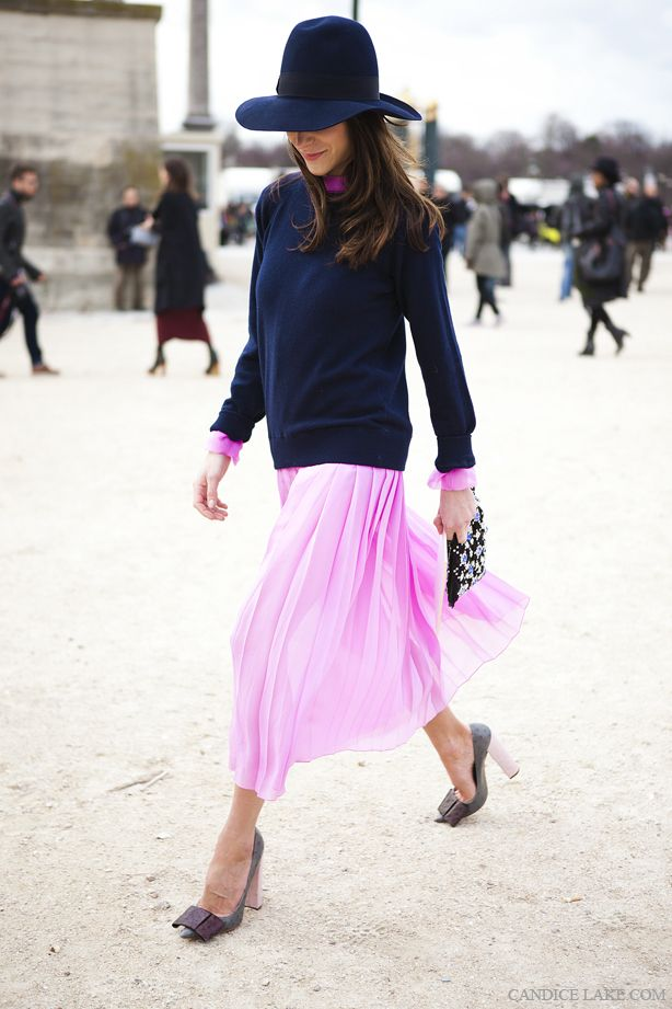 early-spring-navy-sweater-over-dresses-pink-ladylike-wide-brim-hat-via-candicelake.com