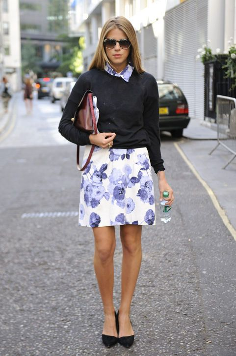early-spring-sweater-over-dress-floral-dress-via-glamour.com