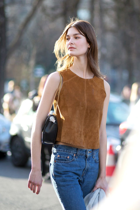 suede top, jeans, spring, pfw, street style